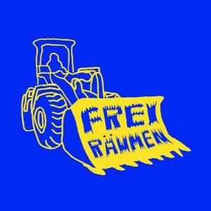 Freiräumen Logo, Bagger in Gelb mit Freiräumen Text